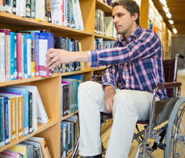 Student accessing library